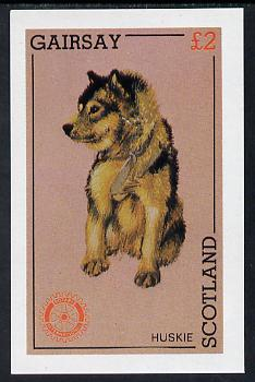 Gairsay 1984 Rotary -Dogs (Huskie) imperf deluxe sheet (�2 value) unmounted mint