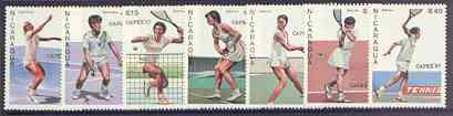 Nicaragua 1987 Capex 87 Stamp Exhibition (Tennis Players) complete set of 6 unmounted mint, SG 2870-76