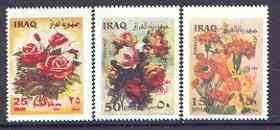 Iraq 2002 Flowers perf set of 3 unmounted mint