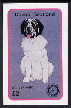 Davaar Island 1984 Rotary - Dogs (St Bernard) imperf deluxe sheet (�2 value) unmounted mint