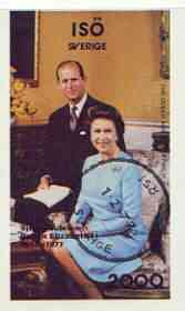 Iso - Sweden 1977 Silver Jubilee imperf souvenir Sheet (The Queen & Duke) cto used, stamps on royalty, stamps on silver jubilee, stamps on  iso , stamps on
