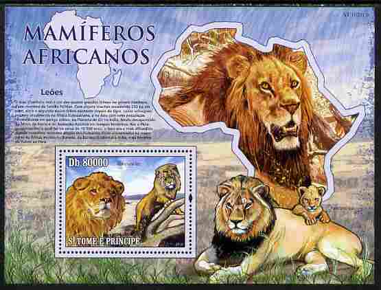 St Thomas & Prince Islands 2010 Animals of Africa - Lions perf souvenir sheet unmounted mint