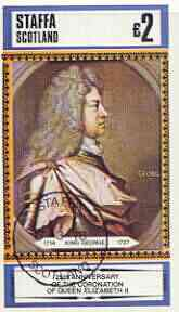 Staffa 1978 Coronation 25th Anniversary imperf deluxe sheet (�2 value) King George, cto used