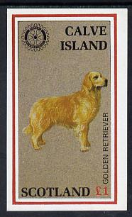 Calve Island 1984 Rotary - Dogs (Golden Retriever) imperf souvenir sheet (�1 value) unmounted mint