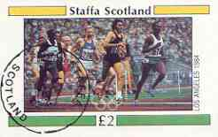 Staffa 1984 Los Angeles Olympic Games (Running) imperf deluxe sheet (£2 value) cto used