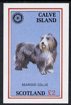 Calve Island 1984 Rotary - Bearded Collie imperf deluxe sheet (�2 value) unmounted mint