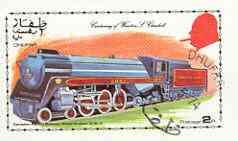 Dhufar 1974 Churchill Birth Centenary (Canadian Pacific Royal Hudson 4-6-4) imperf souvenir sheet (2R value) cto used