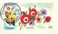 Staffa 1972 Flowers #01- Cowslip & Anemone 35p imperf souvenir sheet cto used, stamps on flowers