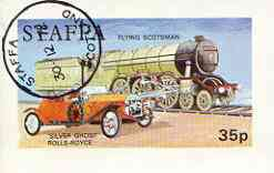 Staffa 1972 Pictorial imperf souvenir sheet (35p value) Transport (Flying Scotsman & RR Silver Ghost) cto used