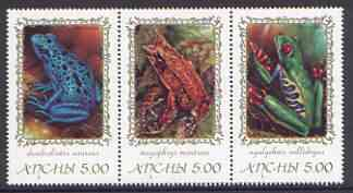 Abkhazia 2000 Frogs & Toads #1 se-tenant perf strip of 3 unmounted mint, stamps on animals, stamps on reptiles, stamps on frogs