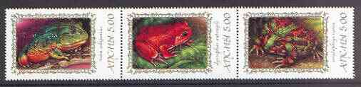 Abkhazia 2000 Frogs & Toads #2 se-tenant perf strip of 3 unmounted mint, stamps on animals, stamps on reptiles, stamps on frogs