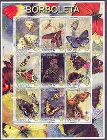 Angola 2000 Butterflies perf sheetlet #01 containing set of 9 values each with Rotary & Scouts Logos, fine cto used, stamps on butterflies, stamps on rotary, stamps on scouts
