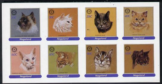 Nagaland 1984 Rotary - Domestic Cats imperf set of 8 values (20c to 100c) unmounted mint