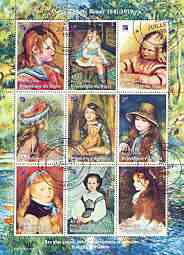 Niger Republic 1998 Paintings by Pierre Auguste Renoir perf sheetlet containing 9 values cto used