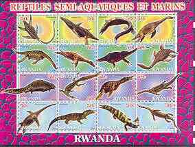 Rwanda 2001 Dinosaurs perf sheetlet #2 (Reptiles Semi-Aquatiques et Marins) containing set of 16 x 50f values unmounted mint