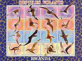 Rwanda 2001 Dinosaurs perf sheetlet #3 (Reptiles Volants) containing set of 16 x 75f values unmounted mint
