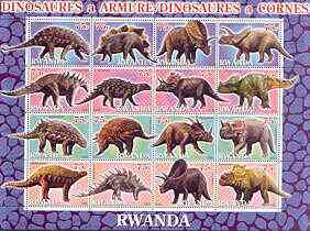 Rwanda 2001 Dinosaurs perf sheetlet #4 (Dinosaures a Armure / a Cornes) containing set of 16 x 75f values unmounted mint
