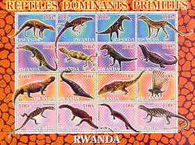 Rwanda 2001 Dinosaurs perf sheetlet #5 (Reptiles Dominants Primitifs) containing set of 16 x 100f values unmounted mint
