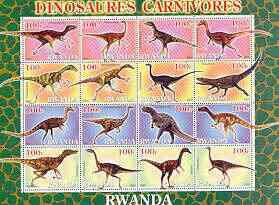 Rwanda 2001 Dinosaurs perf sheetlet #6 (Dinosaures Carnivores) containing set of 16 x 100f values unmounted mint