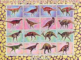 Rwanda 2001 Dinosaurs perf sheetlet #8 (Dinosaures A Bec de canard) containing set of 16 x 150f values unmounted mint