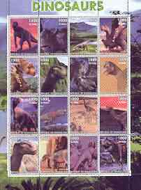 Somaliland 2001 Dinosaurs perf sheetlet #1 containing set of 16 values unmounted mint