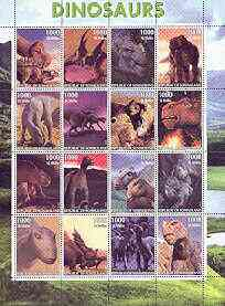 Somaliland 2001 Dinosaurs perf sheetlet #2 containing set of 16 values unmounted mint
