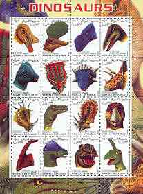 Somalia 2001 Dinosaurs perf sheetlet #1 containing set of 16 values (Heads only) unmounted mint