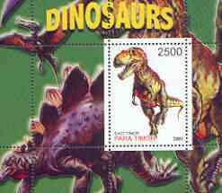 Timor (East) 2001 Dinosaurs perf m/sheet #1 containing one value unmounted mint