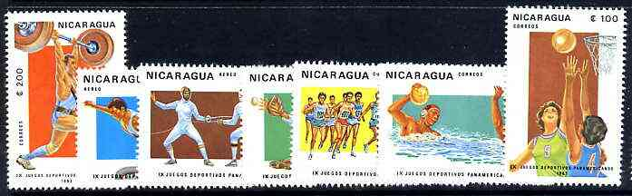 Nicaragua 1983 Pan-American Games complete perf set of 7 unmounted mint, SG 2487-93