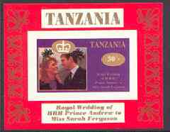 Tanzania 1986 Royal Wedding (Andrew & Fergie) the unissued 30s individual imperf deluxe sheet unmounted mint