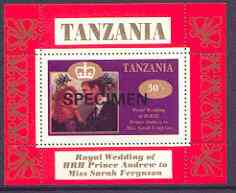 Tanzania 1986 Royal Wedding (Andrew & Fergie) the unissued 30s individual perf deluxe sheet opt'd SPECIMEN unmounted mint