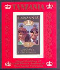 Tanzania 1986 Royal Wedding (Andrew & Fergie) the unissued 10s individual imperf deluxe sheet opt'd SPECIMEN unmounted mint