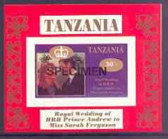 Tanzania 1986 Royal Wedding (Andrew & Fergie) the unissued 30s individual imperf deluxe sheet opt'd SPECIMEN unmounted mint