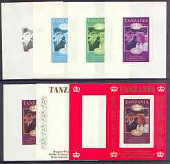 Tanzania 1986 Royal Wedding (Andrew & Fergie) the unissued 80s individual imperf deluxe sheet, the set of 8 progressive colour proofs comprising various singles and combinations incl completed design unmounted mint