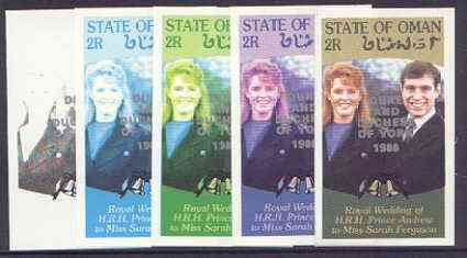 Oman 1986 Royal Wedding imperf souvenir sheet (2r) opt'd Duke & Duchess of York in silver, the set of 5 progressive proofs, comprising single colour, 2-colour, two x 3-colour combinations plus completed design, each with opt. (5 proofs) unmounted mint