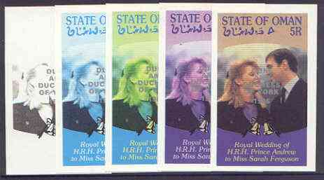 Oman 1986 Royal Wedding imperf deluxe sheet (5r) opt'd Duke & Duchess of York in silver, the set of 5 progressive proofs, comprising single colour, 2-colour, two x 3-colour combinations plus completed design, each with opt. (5 proofs) unmounted mint