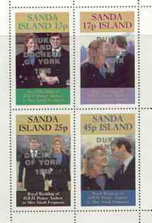 Sanda Island 1986 Royal Wedding perf sheetlet of 4 opt'd Duke & Duchess of York in silver, unmounted mint