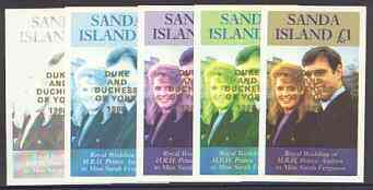 Sanda Island 1986 Royal Wedding imperf souvenir sheet (\A31 value) opt'd Duke & Duchess of York in gold, the set of 5 progressive proofs, comprising single colour, 2-colour, two x 3-colour combinations plus completed design, each with opt. (5 proofs) unmounted mint