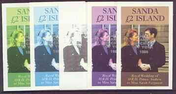 Sanda Island 1986 Royal Wedding imperf deluxe sheet (\A32 value) opt'd Duke & Duchess of York in silver, the set of 5 progressive proofs, comprising single colour, 2-colour, two x 3-colour combinations plus completed design, each with opt. (5 proofs) unmounted mint