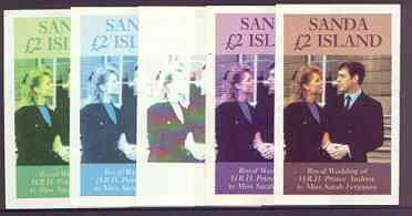 Sanda Island 1986 Royal Wedding imperf deluxe sheet (\A32 value) the set of 5 progressive proofs, comprising single colour, 2-colour, two x 3-colour combinations plus completed design (5 proofs) unmounted mint