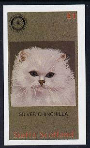 Staffa 1984 Rotary - Domestic Cats (Silver Chinchilla) imperf souvenir sheet (�1 value) unmounted mint
