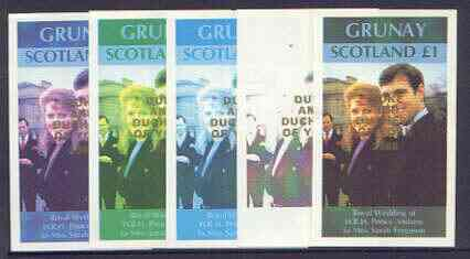 Grunay 1986 Royal Wedding imperf souvenir sheet (\A31 value) opt'd Duke & Duchess of York in gold, the set of 5 progressive proofs, comprising single colour, 2-colour, two x 3-colour combinations plus completed design, each with opt. (5 proofs) unmounted mint