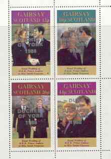 Gairsay 1986 Royal Wedding perf sheetlet of 4 opt'd Duke & Duchess of York in silver, unmounted mint
