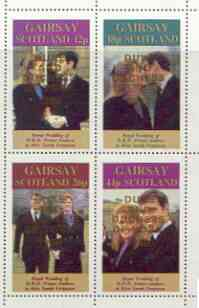 Gairsay 1986 Royal Wedding perf sheetlet of 4 opt'd Duke & Duchess of York in gold, unmounted mint