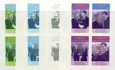 Gairsay 1986 Royal Wedding imperf sheetlet of 4 opt'd Duke & Duchess of York in silver, the set of 4 progressive proofs, comprising single colour, 2-colour plus two x 3-colour combinations, each with opt. (16 proofs) unmounted mint