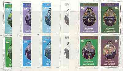 Nagaland 1986 Royal Wedding perf sheetlet of 4 opt'd Duke & Duchess of York in silver, the set of 5 progressive proofs, comprising single colour, 2-colour, two x 3-colour combinations plus completed design, all with opt. (20 proofs) unmounted mint