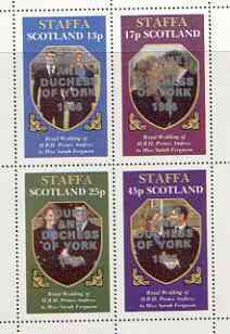 Staffa 1986 Royal Wedding perf sheetlet of 4 opt'd Duke & Duchess of York in silver, unmounted mint