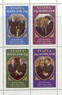 Staffa 1986 Royal Wedding perf sheetlet of 4 opt'd Duke & Duchess of York in gold, unmounted mint