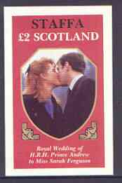 Staffa 1986 Royal Wedding imperf deluxe sheet (�2 value) unmounted mint