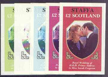 Staffa 1986 Royal Wedding imperf deluxe sheet (\A32 value) the set of 5 progressive proofs, comprising single colour, 2-colour, two x 3-colour combinations plus completed design (5 proofs) unmounted mint